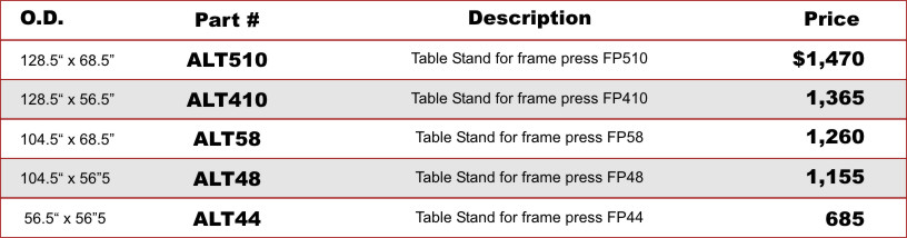 Aluminum table stand price sheet