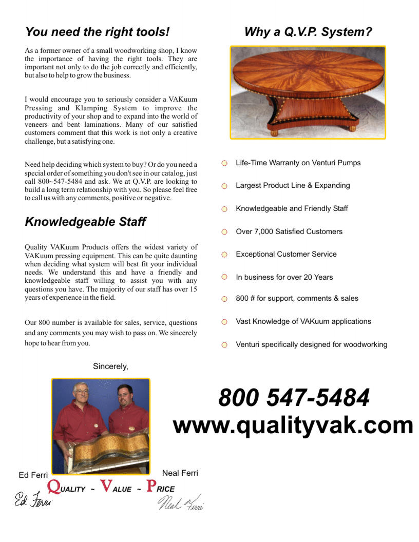 Quality VAKuum Products Brochure Page 2