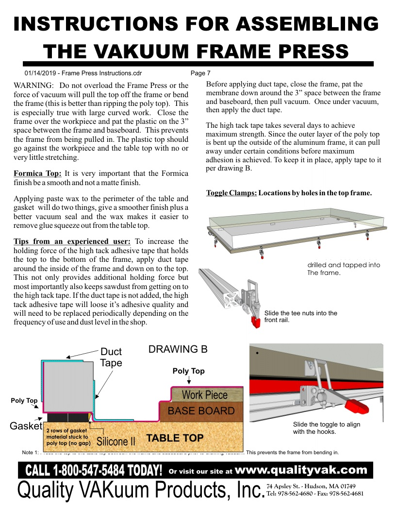 INSTRUCTIONS FOR ASSemBLING THE VAKUUM FRAME PRESS. Page 7