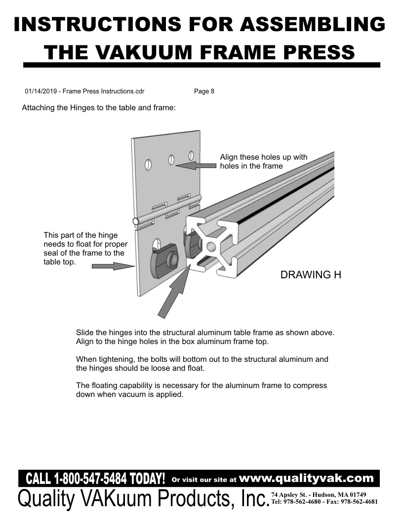 INSTRUCTIONS FOR ASSemBLING THE VAKUUM FRAME PRESS. Page 8