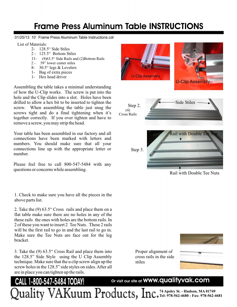 INSTRUCTIONS FOR ASSemBLING THE VAKUUM FRAME PRESS. Page 1