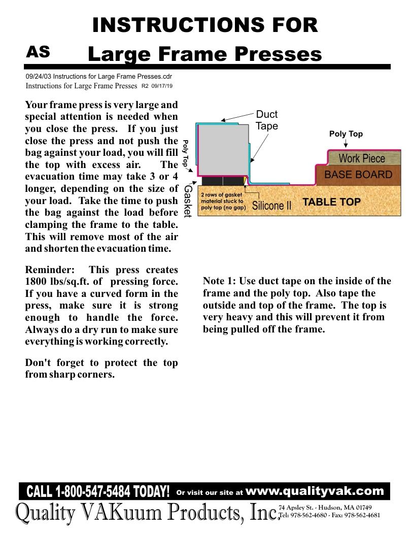 INSTRUCTIONS FOR Large Frame Presses