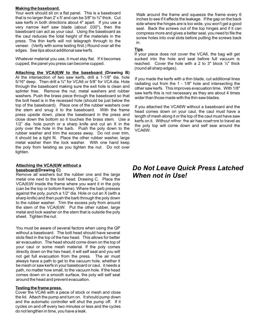 INSTRUCTIONS FOR Q.V.P. Quick Press Page 2